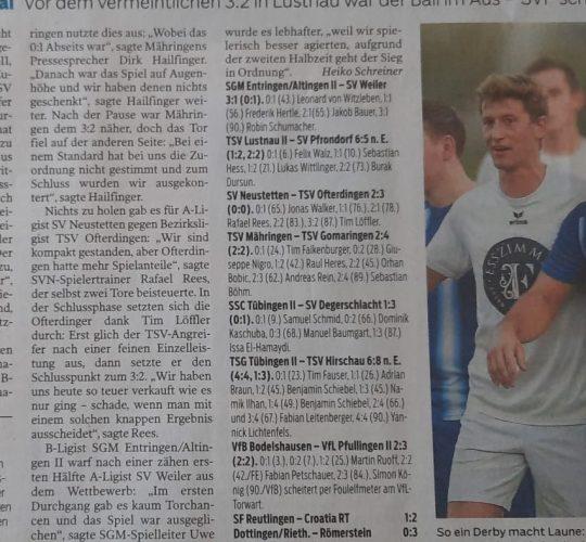 Schwäb. Tagblatt 09.09.2021 TSV Mähringen – TSV Gomaringen